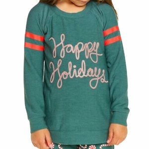 Chaser Girl's Happy Holidays Sweatshirt Top Sz 6